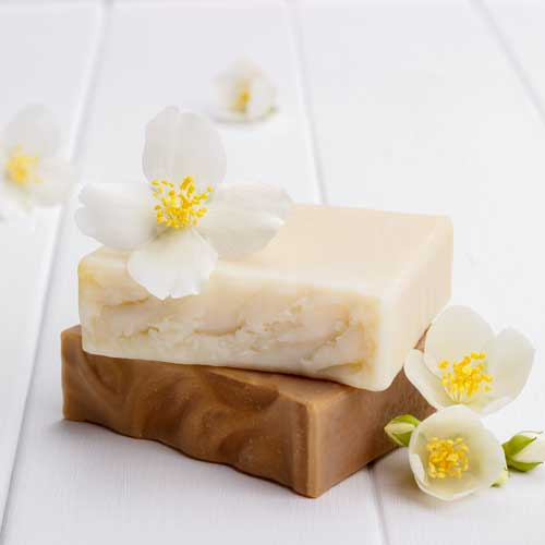 goat milk soap with flowers