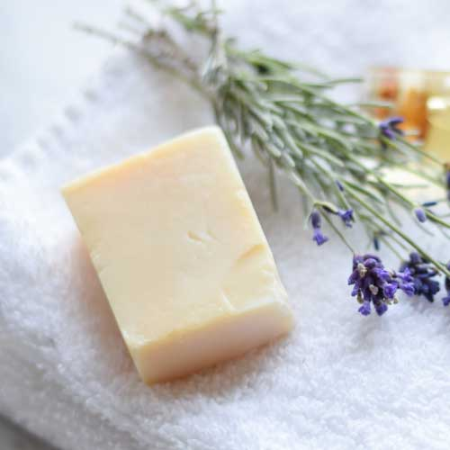 gat milk soap with lavender and towel